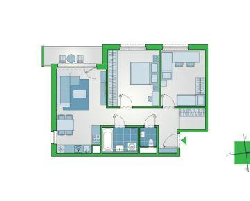 3-izbový byt s lodžiou a výhľadom na dvor v novostavbe NUPPU Jasmiini (D1008)