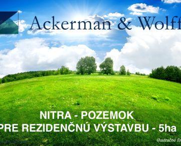 Ackerman & Wolff ponúka na predaj pozemok pre výstavbu bytových domov v Nitre o výmere 5ha