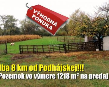 Výhodná kúpa! Pozemok na predaj iba 8 km od Podhájskej, 1218m2. CENA: 21 000,00 EUR