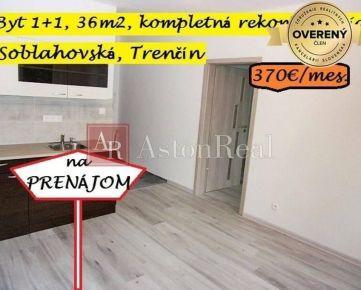 IBA U NÁS! Prenájom, 1+1, balkón, kompl. rek., zariadený,36m2, Trenčín