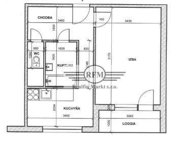 Vrbové  - veľký 1 izbový byt - čiastočná rekonštrukcia