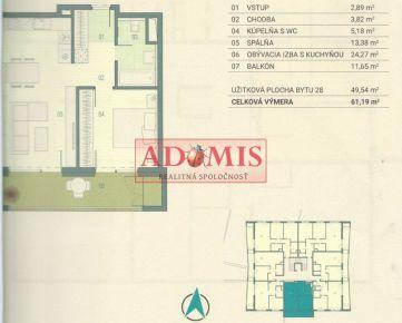 ADOMIS - odstúpim 2 izbový byt s balkónom, Novostavba Povrazy