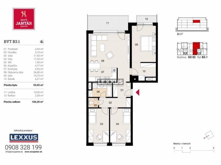 4-izb. byt 93m2, novostavba