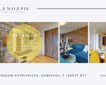 Na prenájom príjemný 3-izbový byt v centre Dúbravky s panoramatickým výhľadom