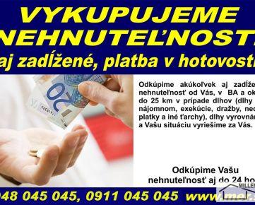 """RK MER - KÚPIM BYT - (garzónku, 1 izbový, 2 izbový,3 izbový alebo 4 izbový byt) AJ ZADĹŽENÝ - Bratislava - cena ,,DOHODA"""", PLATBA V HOTOVOSTI - PONÚKNITE"""